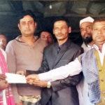 নাঙ্গলকোট বাঙ্গড্ডায় সিএনজি শ্রমিক মৃত মফিজ মিয়ার পরিবারকে চেক প্রদান