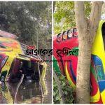 কুমিল্লায় তিশা বাস নিয়ন্ত্রণ হারিয়ে ডোবায়