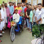 মুরাদনগরে প্রতিবন্ধী শিক্ষার্থী নাজমুলকে রিক্সা প্রদান : স্কুলে যেতে আর হাটতে হবেনা ৪ কি:মি: